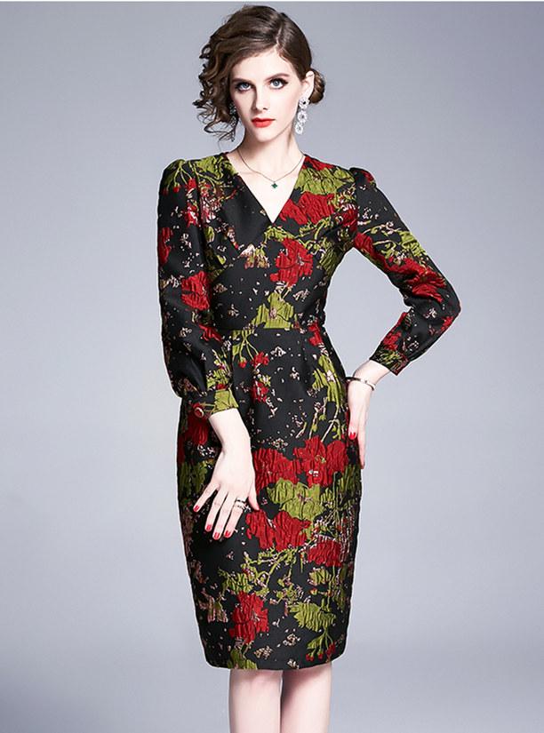 Europe Autumn V-neck Jacquard Flowers Bodycon Dress