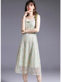 Europe Charming Flowers Embroidery Straps Long Dress