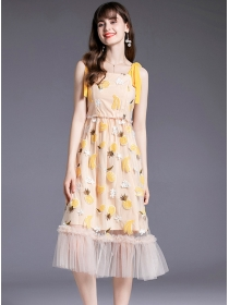 Lovely Europe Sequins Fruits Straps Gauze Long Dress