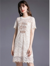 Summer New 2 Colors Flowers Embroidery Lace Dress