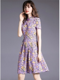 Lovely Wholesale 2 Colors Flowers Short Sleeve Dress