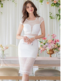Sexy Charming Round Neck Lace Hollow Out Slim Dress