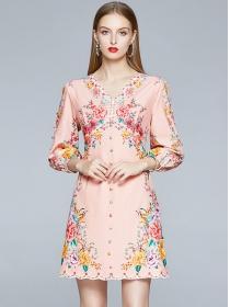 Charming Retro V-neck Flowers Puff Sleeve A-line Dress
