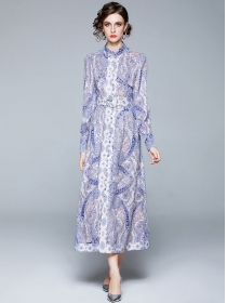 Fashion Europe Single-breasted Flowers Maxi Dress