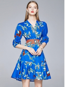 Europe Charming 2 Colors V-neck Flowers Puff Sleeve Dress