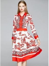 Fashion Europe Shirt Collar Flowers Long Sleeve Dress