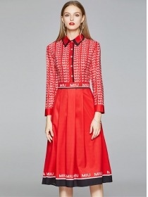 Europe Stylish Shirt Collar Letters Pleated A-line Dress