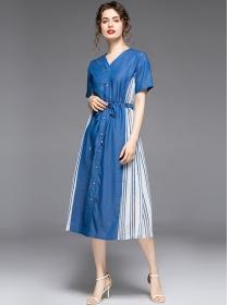 Europe New Single-breasted Stripes Denim Loosen Dress
