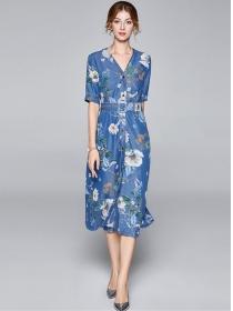 Wholesale Summer V-neck Flowers Denim A-line Dress