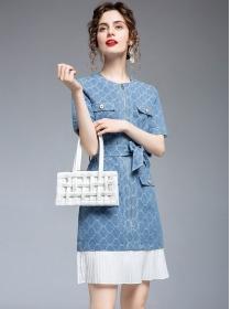 Stylish Tie Waist Zipper Open Pleated Fishtail Denim Dress