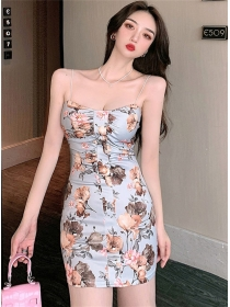 Fashion Sexy Flowers Low Bust Straps Slim Dress