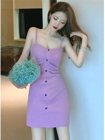Wholesale Korea Pleated Waist Straps Slim Dress