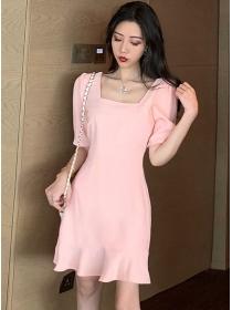Summer Fashion Square Collar Fishtail Short Sleeve Dress