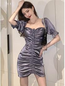 Modern Lady Puff Sleeve Pleated Bodycon Dress
