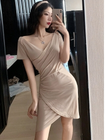 Wholesale Korea V-neck Pleated Bodycon Dress