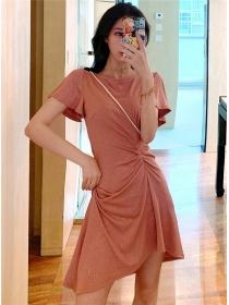 Wholesale Korea Pleated Waist Shining A-line Dress