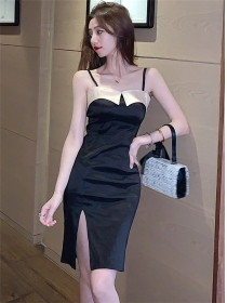 Modern Sexy Color Block Bust Straps Slim Dress