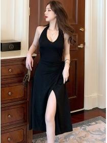 Korea Wholesale V-neck Backless Halter A-line Dress