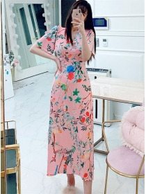 Korea Wholesale High Waist V-neck Flowers Long Dress