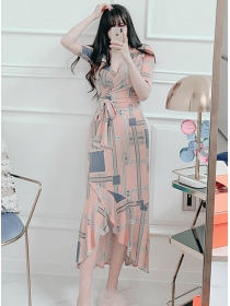 Fashion Lady 2 Colors Tie Waist Plaids Fishtail Dress