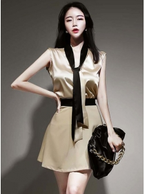 Summer New Color Block Tie Collar Two Pieces Dress
