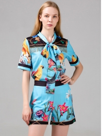 Retro Charming Tie Collar Flowers Two Pieces Suits