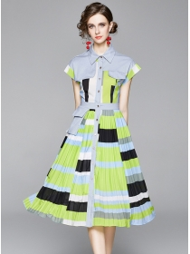 Summer New Color Block Pleated Shirt A-line Dress