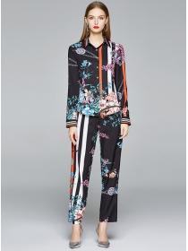 Retro Europe Color Block Flowers Loosen Long Suits