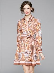 Europe Stylish Tie Collar Flowers Long Sleeve Dress