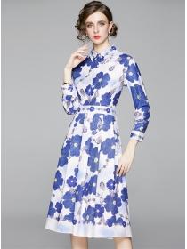 Europe Fashion Shirt Collar Flowers A-line Long Dress