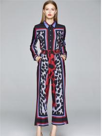 Vogue Lady Elastic Waist Leopard Color Block Long Suits