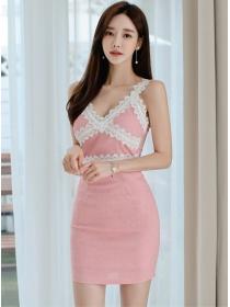 Sexy Korea Lace Splicing V-neck Slim Straps Dress