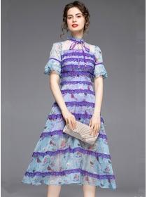 Grace Charming High Waist Lace Flouncing Flowers Dress