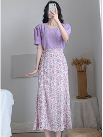 Lovely Fashion Lace Blouse with Flowers Split Long Skirt