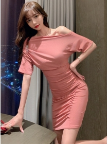 Sexy Charming Boat Neck Pleated Skinny Dress