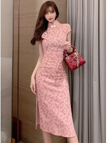Charming Retro Flowers Split Skinny Cheongsam Dress