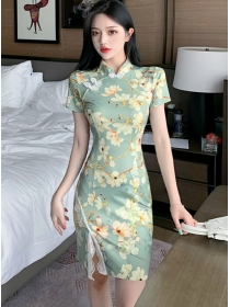 Wholesale Korea Lace Split Flowers Cheongsam Dress
