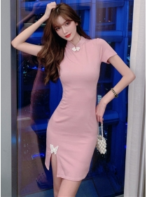Modern Lady Buttefly Split Bodycon Short Sleeve Dress