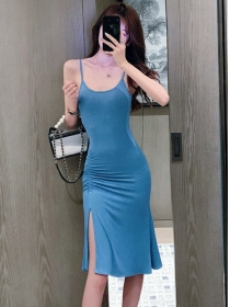 Korea Wholesale Pleated Split Shining Straps Dress