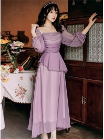 Vocation Fashion Pleated Flouncing Puff Sleeve Long Dress