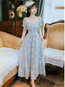 Charming Fairy Square Collar Lace Flowers Maxi Dress