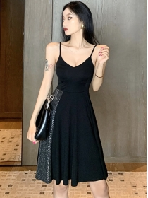 Wholesale Korea Shining Flouncing Straps A-line Dress