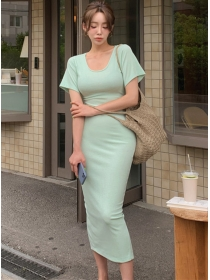 Wholesale Korea 2 Colors Round Neck Slim Cotton Dress