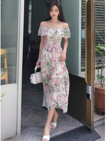 Pretty Fashion Boat Neck Tie Waist Flowers Dress