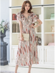 Fashion Lady 2 Colors Flouncing V-neck Chiffon Maxi Dress