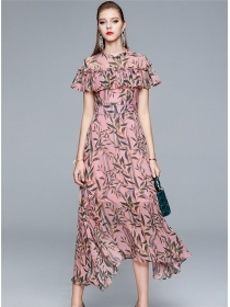 Pretty Fashion 2 Colors Flouncing Collar Flowers Maxi Dress