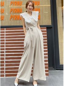 Fashion Korea Lace Doll Collar Tie Waist Wide-leg Jumpsuit