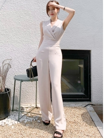 Modern Lady Tailored Collar High Waist Tank Jumpsuit