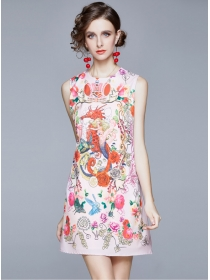 Europe Wholesale Round Neck Flowers Tank A-line Dress