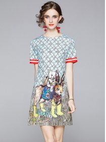 Lovely Wholesale 2 Colors Cartoon Printings A-line Dress